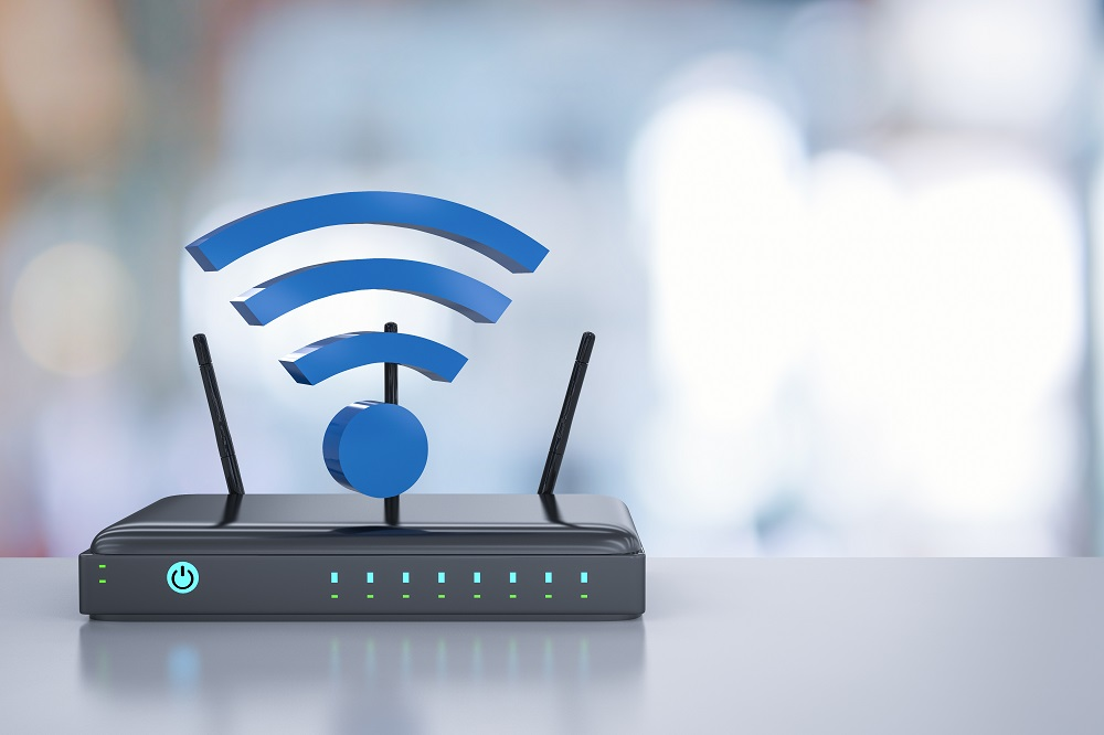 Internet router and Wi-Fi symbol on desk