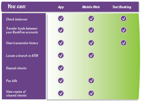 Features of mobile banking chart